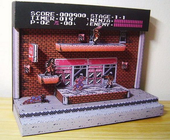 Ninja Gaiden Diorama The Classic Game On Papercraft