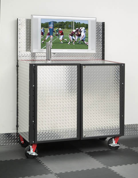 Diamond Plate Kegerator Cabinet Adds A TV To Your Beer Tap