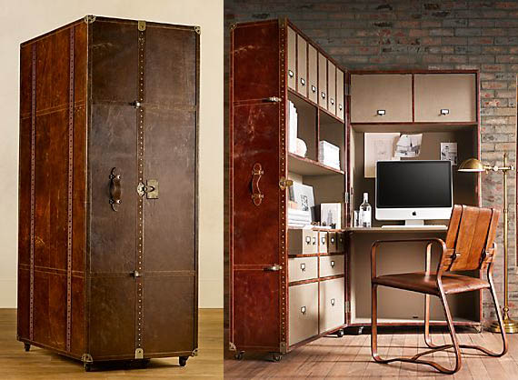 Antique-Looking Mayfair Steamer Secretary Trunk Opens Into A Classy  Workstation