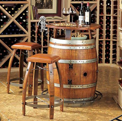 Looking To Set Up A Small Home Bar With Some Well Defined Character? Try  Imagining This Vintage Oak Wine Barrel Bistro Table And Stools Set In A  Leisurely ...