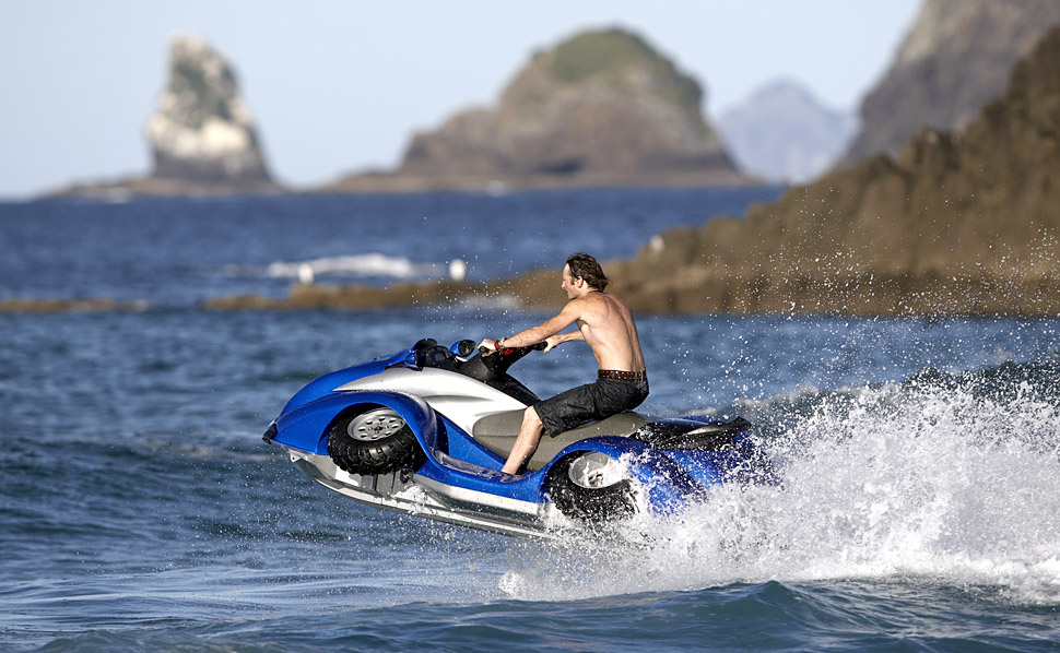 quadski quad bike on land jet ski on water. Black Bedroom Furniture Sets. Home Design Ideas