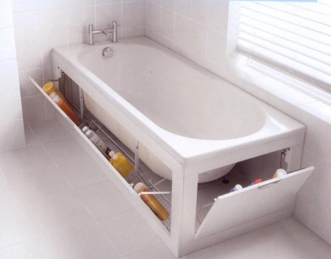 Stowaway Adds Storage Space Under Your Bathtub