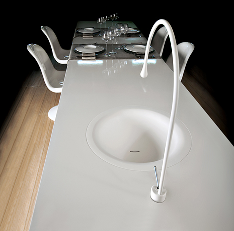 gessi goccia concept puts a kitchen faucet in your dining gessi duplice faucets new unusual geometric faucet