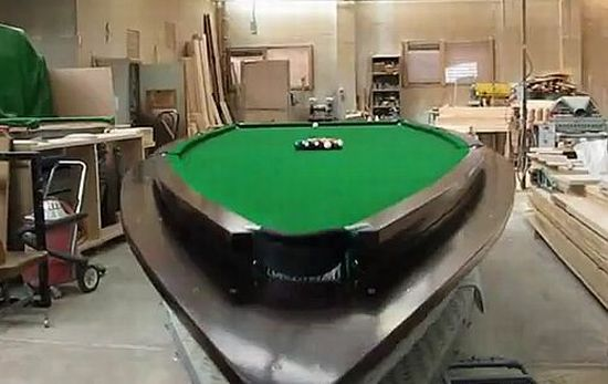 Expensive Pool Table 21-foot speedboat turned into a pool table