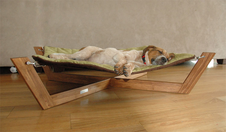 the bambu pet hammock is made from exotic strands of bamboo whose appearance looks like a lovely cross between teak and rich mahogany  bambu pet hammock gives your dog a stylish bed  rh   coolthings