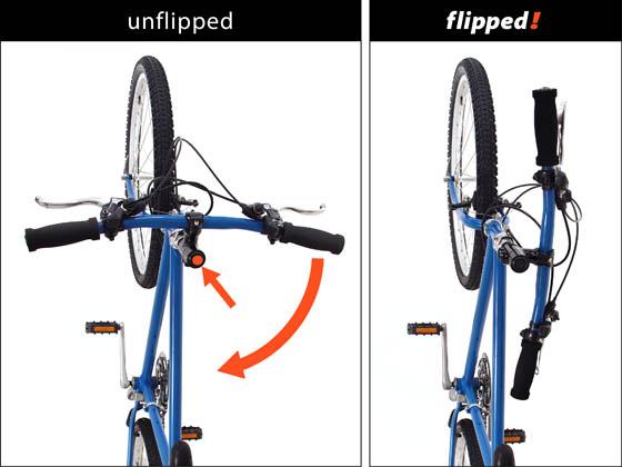 Flipphandle Locks Your Bike S Handlebar To 90 Degrees For Storing Flat