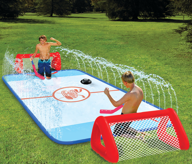 re at it here 39 s the perfect game for that water soaked knee hockey