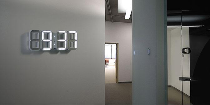 White White A 3d Digital Wall Clock