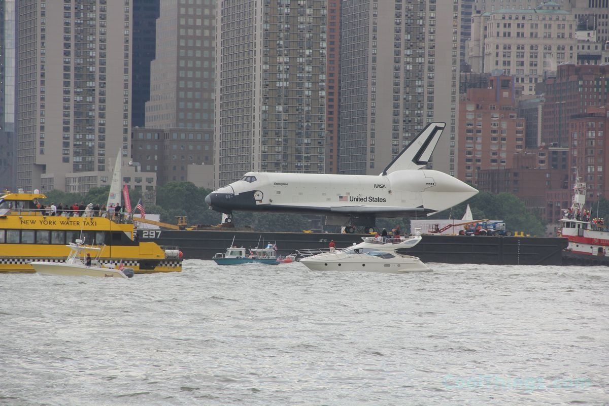 Space Shuttle Enterprise on way to Intrepid in NYC