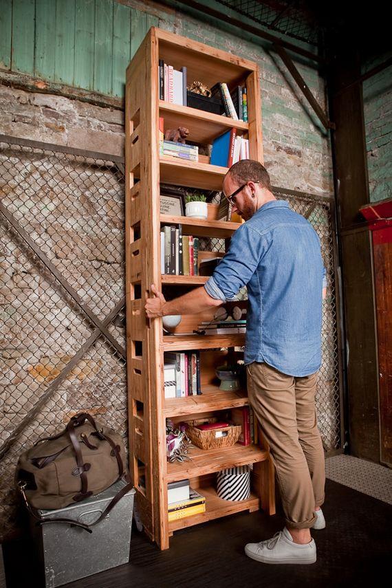 Higher Ground Bookshelf Features Pop Out Ladder