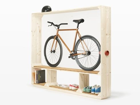 A shelf for books shoes and a bike Bicycle bookshelf