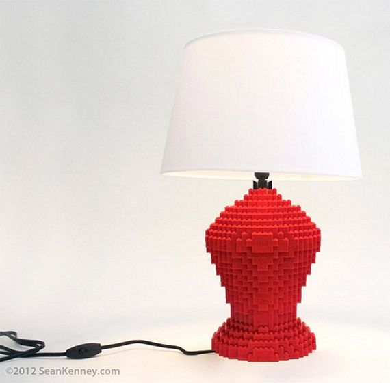 these lego table lamps are made with real lego bricks