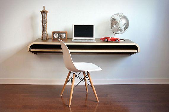 Wonderful Minimal Float Wall Desk Is Like A Cool Shelf For Working On