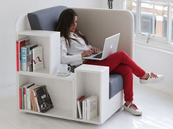 Don't like the idea of using the coffee table as a makeshift bookshelf and  don't want to install a standing bookcase either? Not a problem with the  OpenBook ... - OpenBook Lounge Chair Comes With Bookshelves And Magazine Racks