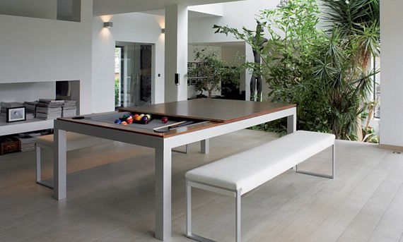 The Fusion Table's dining tabletop measures 52.9 x 90.6 inches, with the  playing area underneath measuring 37.8 x 75.6 inches. Height is only 29.5  inches to ... - This Classy Dining Table Hides A Pool Table Underneath