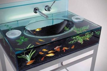 moody aquarium bathroom sink doubles as a fish tank - Cool Bathrooms