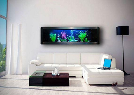 Got a large empty wall put a panoramic wall aquarium on it for Wall fish aquarium