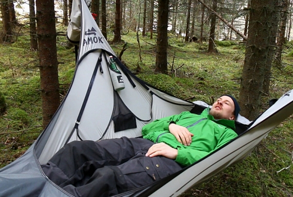 amok draumr hammock gives campers a flat stable bed like cot  rh   coolthings