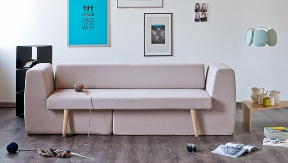 The sofista couch can transform into a three piece living for Living room no couch