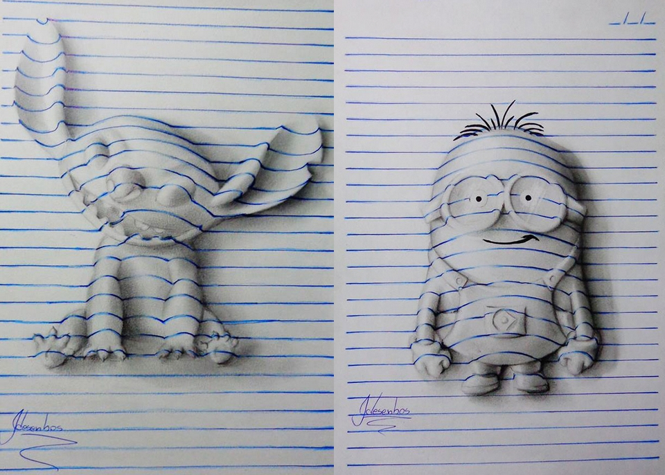 3d Drawing On Lined Paper : João carvalho s d notepad art