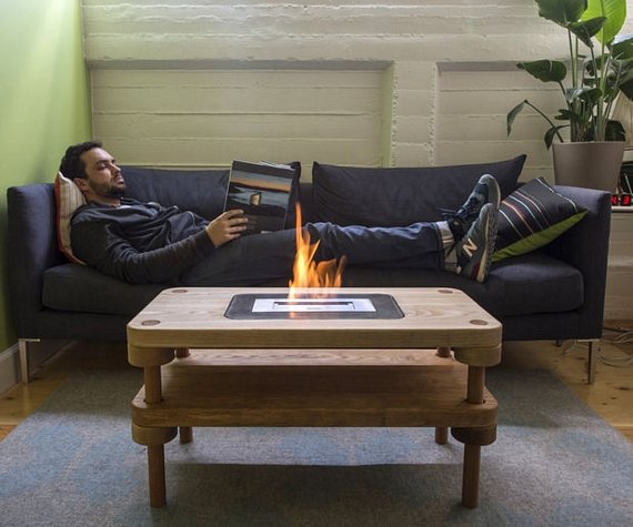 DIY Fireplace Coffee Table Keeps Your Living Room Toasty