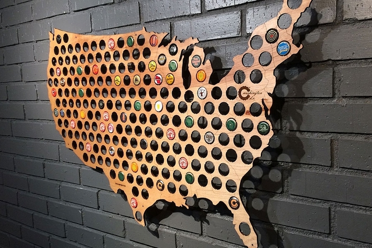 Bottle Cap Wall Art beer cap map