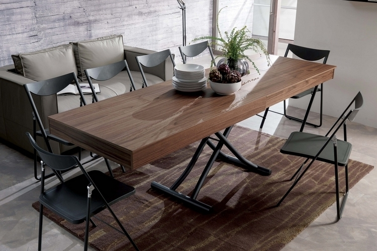 in coffee table form the ozzio newood measures 29 9 x 49 6 x 9 inches  w x l x h  all while expanding to a large dining table measuring 29 9 x 92 9 x     ozzio newood  rh   coolthings com