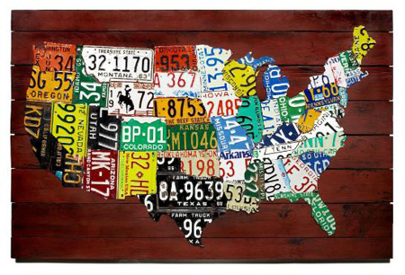 License Plate State Map.Wall Art Us Map Made From State License Plates