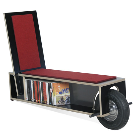 The Easy Reader Is A Quirky Mobile Bench With An Integrated Bookshelf Intended To Make Easier Time Of Hauling Your Library Around