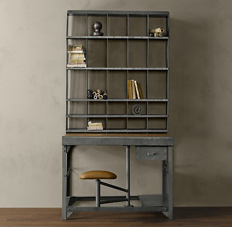 The 1930s French Postal Desk Is Made From Rust Proof Coated Steel And Measures 41 X 37 79 Inches Table Has A Sy Broad Work Surface With Single