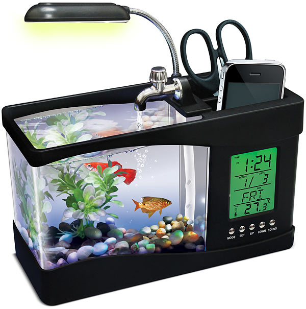Need Something To Amuse You In That Drab Cubicle Inhabit The Office Try Usb Fishquarium A Multi Function Desk Gadget With Built Fish Tank