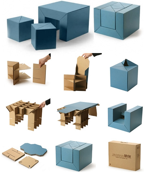 Cfs Furniture Set A Cardboard Table And Stool Combo For