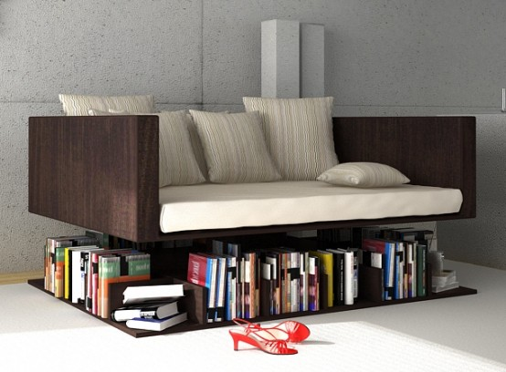 You Canu0027t Help But Admire The Design Of The Ransa Sofa, Which Makes It  Appear Like Your Seating Furniture Is Floating Over A Floor Level Bookshelf.