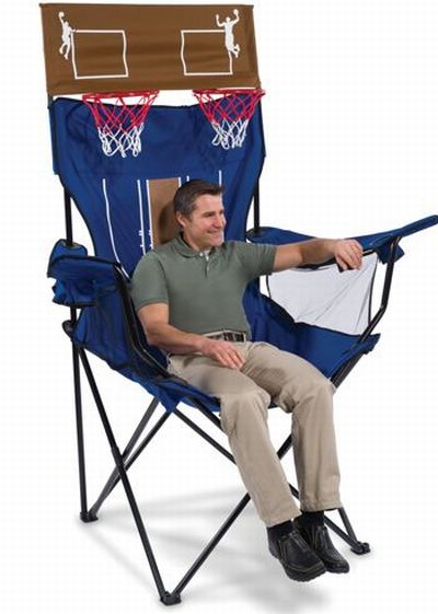 brobdingnagian giant chair has a built in basketball shootout game rh coolthings com Fold Out Sleeper Chair Outside Fold Out Chair