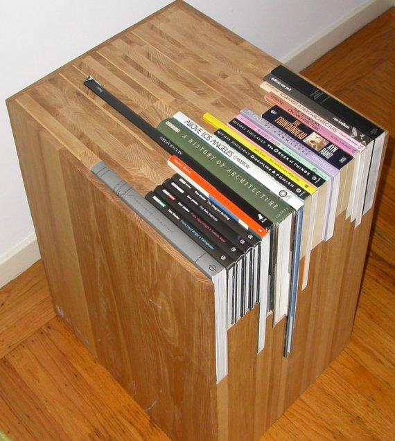 A Custom Side Table With Bookshelf