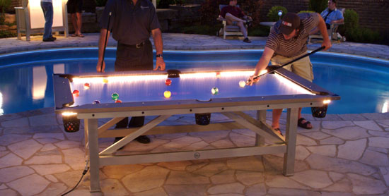 Outdoor Pool Table Features BuiltIn Lighting For Nighttime Play - How wide is a pool table