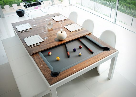 This Classy Dining Table Hides A Pool Table Underneath - Inside a pool table