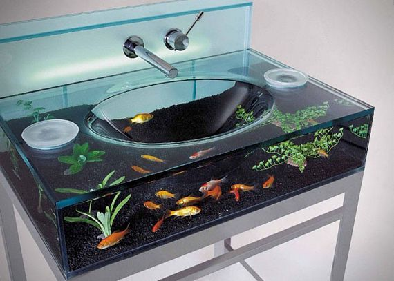 Moody Aquarium Bathroom Sink Doubles As A Fish Tank