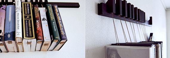 The Book Rack Consists Of A Length Wood That You Mount On Wall And Set Wooden Pins Can Hang Along