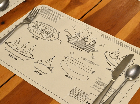 Blueprint placemats after seeing these engineering blueprint placemats i now want an entire cookbook rendered as engineering blueprints these are so awesome malvernweather Choice Image