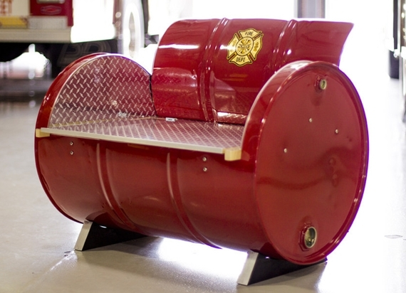 ... Storage Underneath; And The Fire Truck, A Similarly Configured Piece  With Red Fire Truck Colors, Diamond Plate Vinyl, And A Fire Department  Emblem.